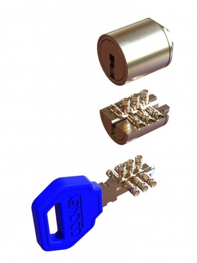 Ключалките се изпълняват от 9 броя кодиращи пинове, подредени в три оси в спирална система. Кодирането е цифрово – програмно в системи Codkey или Locksys.