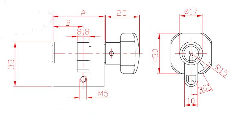 Ключалка двустранна със секрет L 21 и ръкохватка