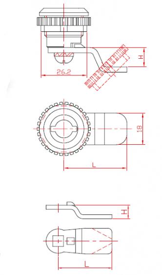 Брава за метални шкафове едноходова с метален  ротор